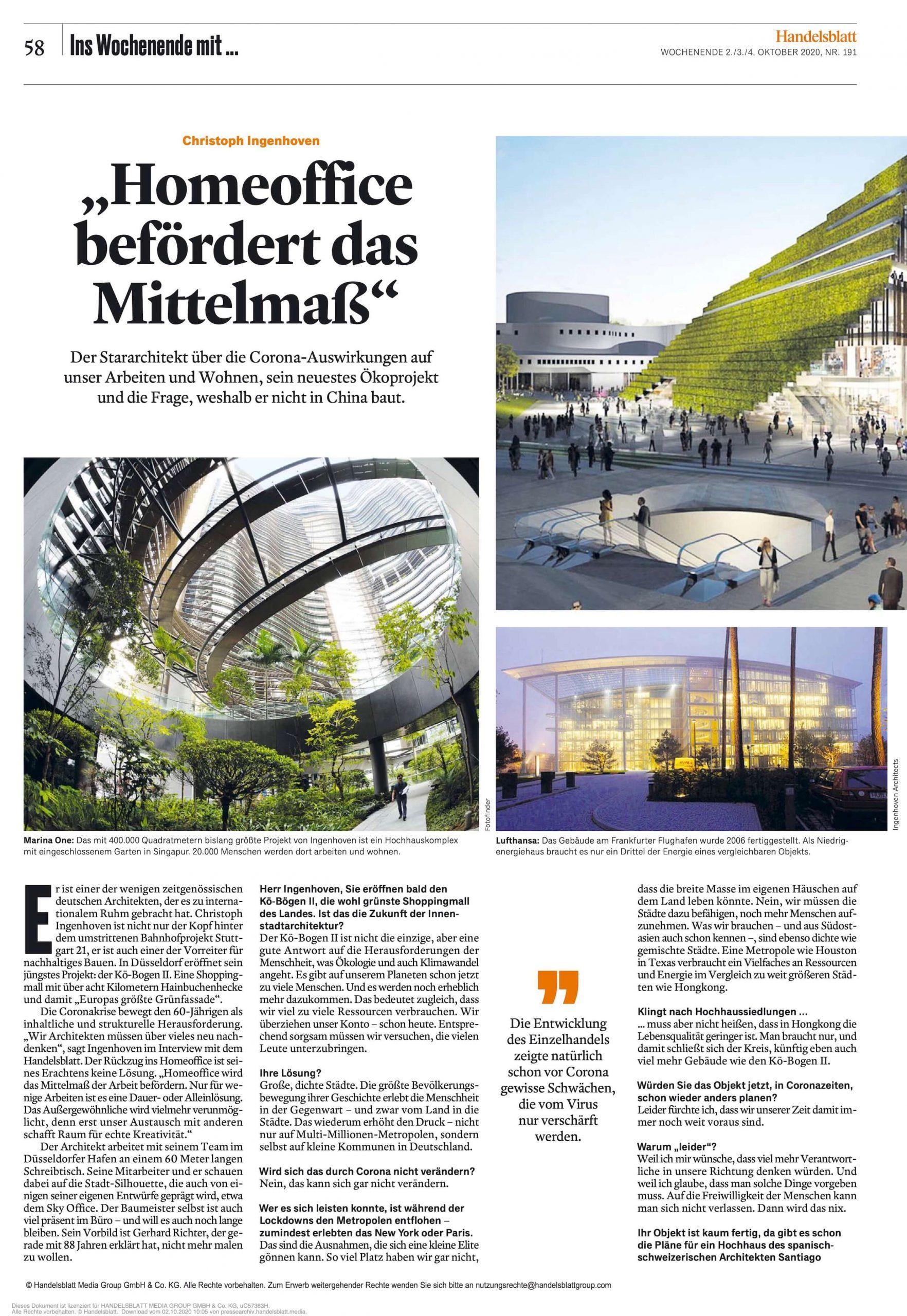 Interview Christoph Ingenhoven im Handelsblatt