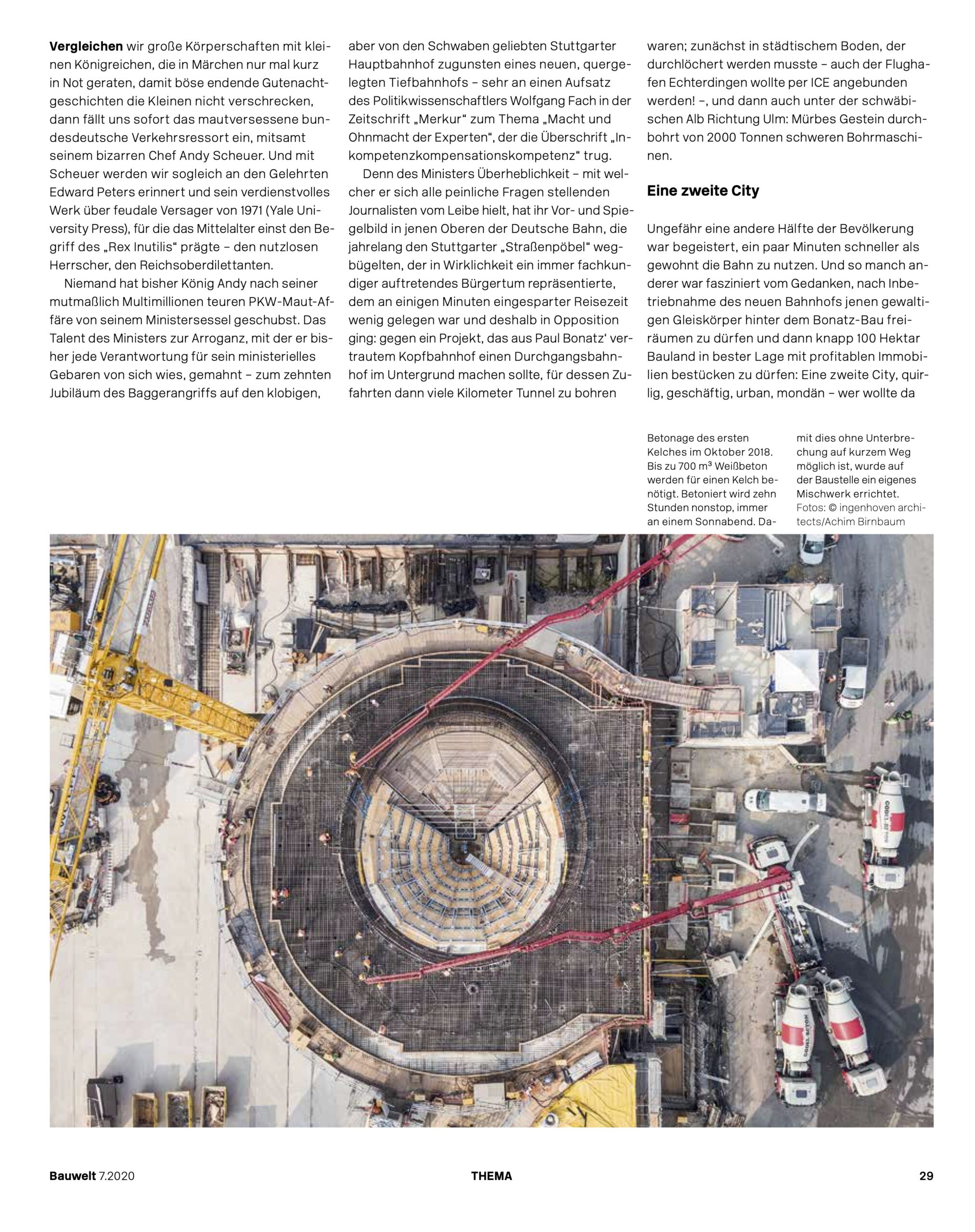 Bauwelt Magazin über Stuttgart 2020 10 Jahre Stuttgart 21, Interview mit Christoph Ingenhoven