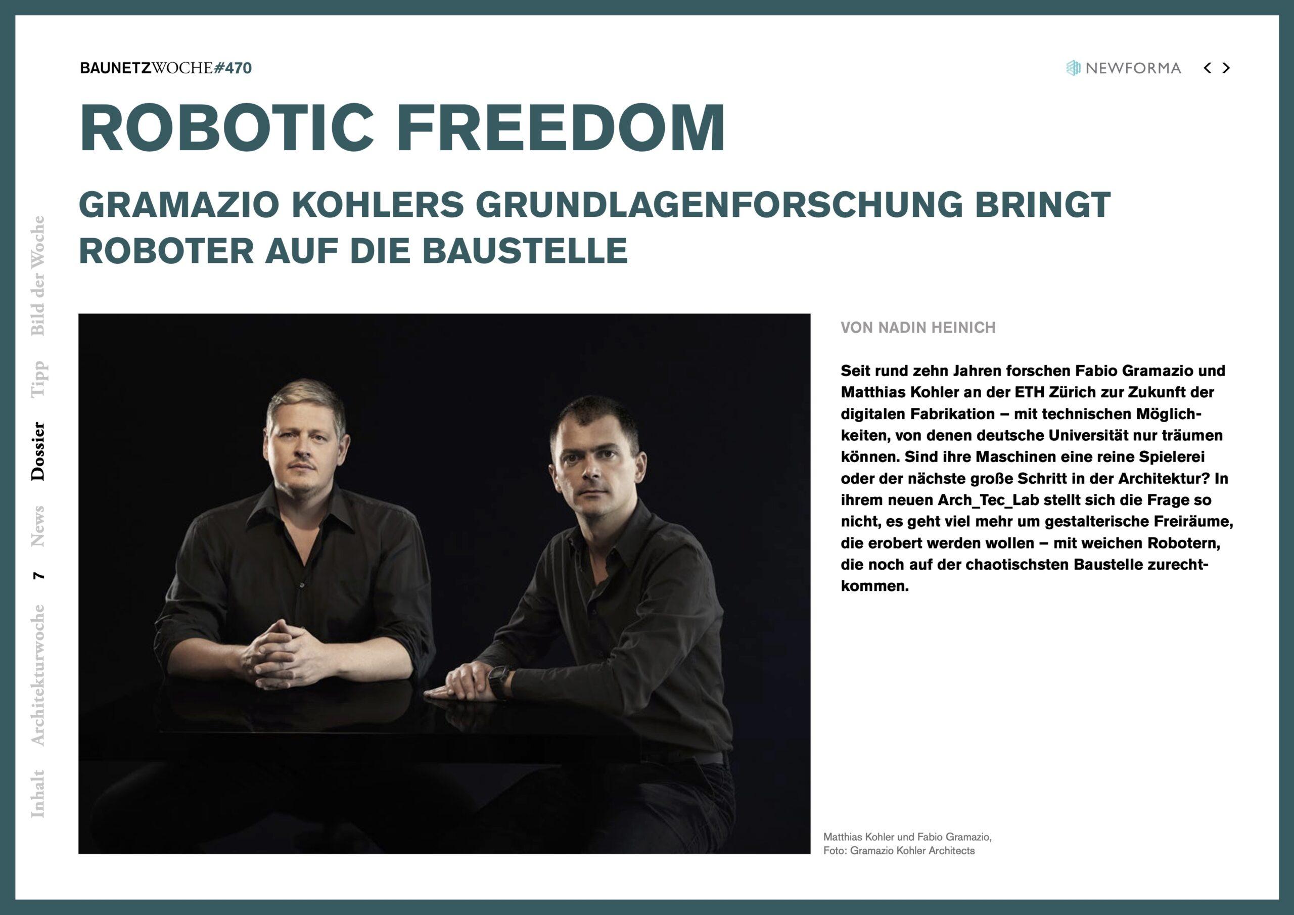Baunetzwoche, Robotic Freedom, das Arch_Tech_Lab der ETH Zürich