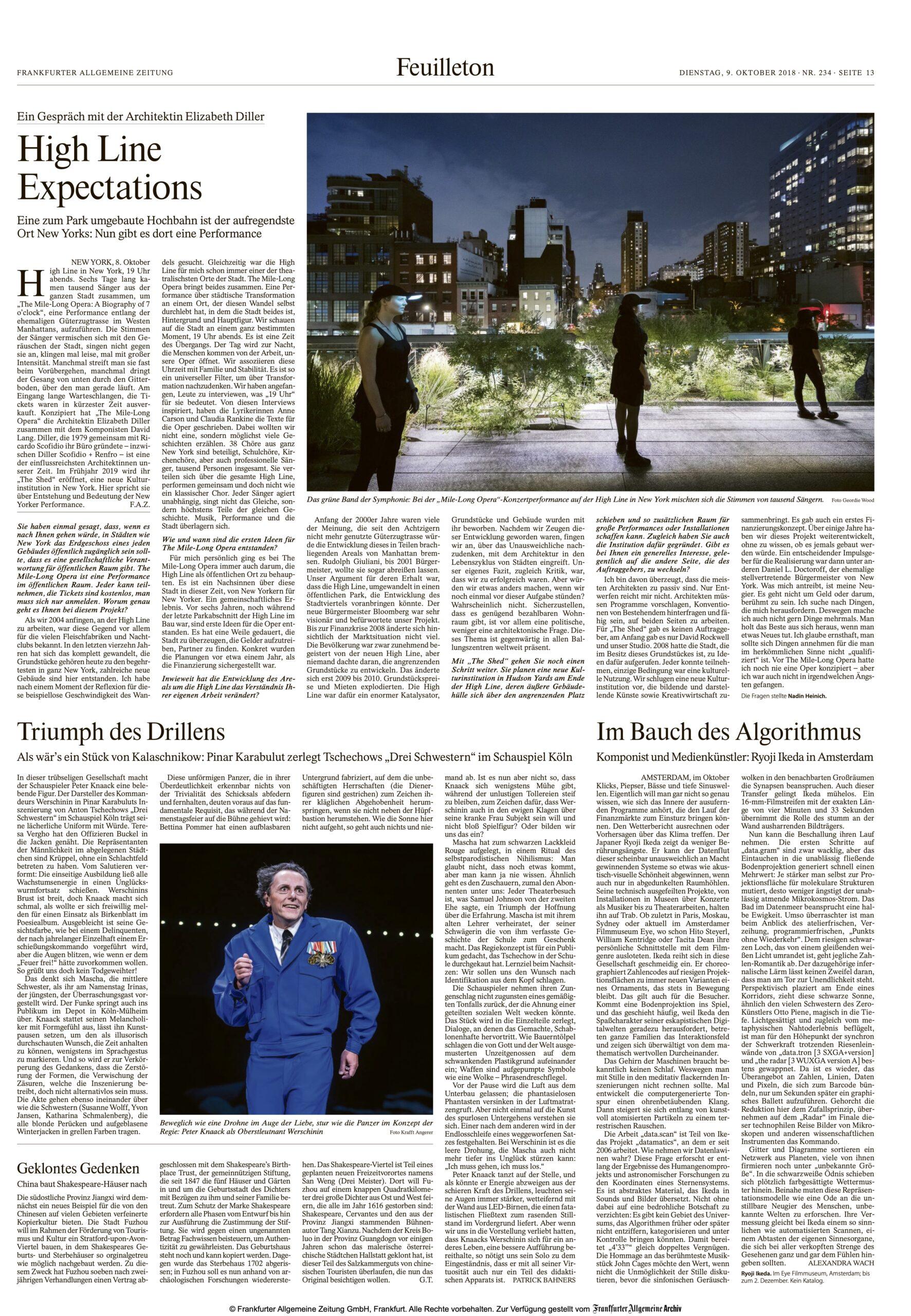 Interview Nadin Heinich mit Elizabeth Diller (Diller Scofidio + Renfro) über The Mile-Long Opera, erschienen 2018 in FAZ