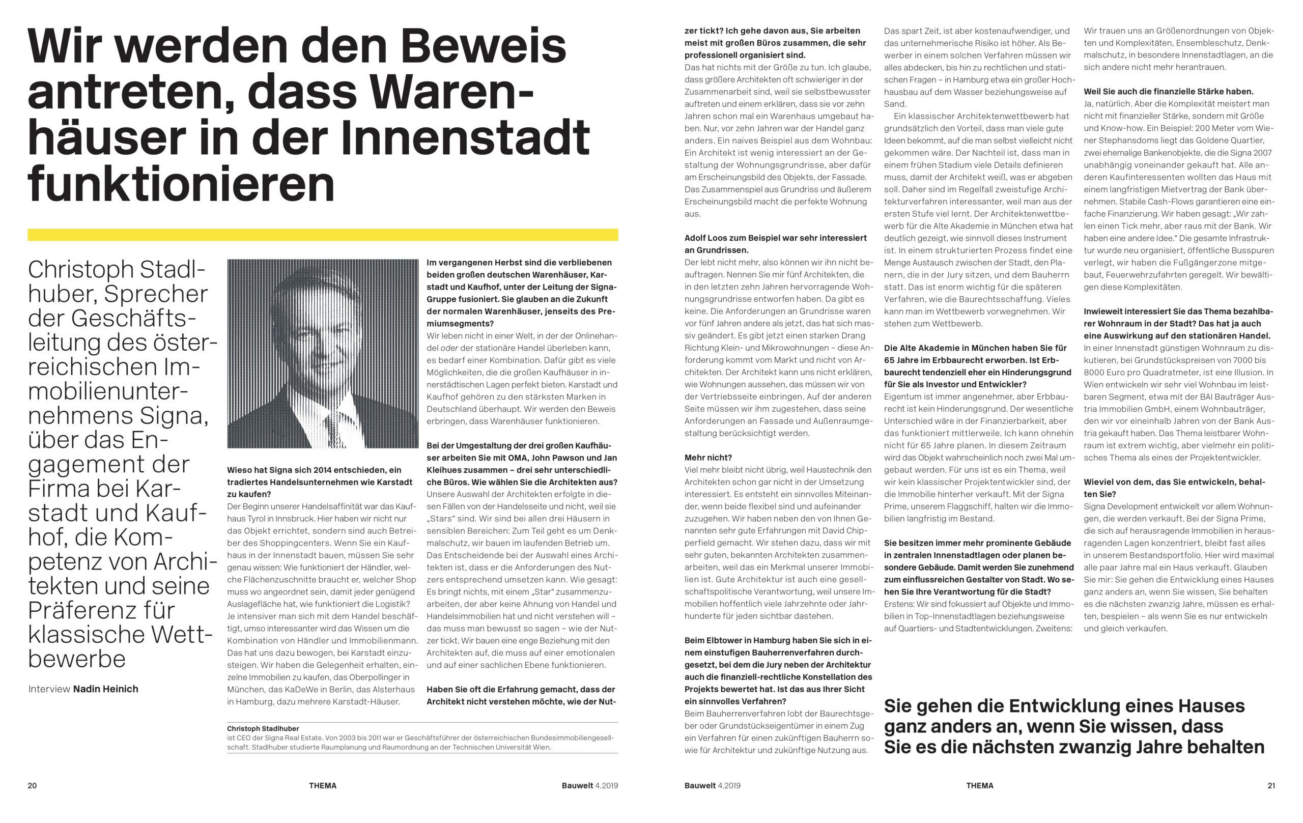 Interview mit Christoph Stadlhuber von SIGNA für Bauwelt